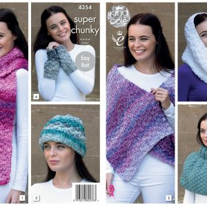 KING COLE ROMANO LADIES,EASY KNIT WARM CHUNKY TOP,HAT /& SCARF KNITTING PATTERN