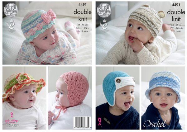 King Cole Pattern 4491 Crochet Baby Hats Yarnpile